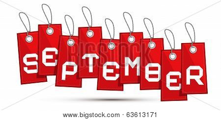 September Red Discount Sale Paper Label, Tag With Strings