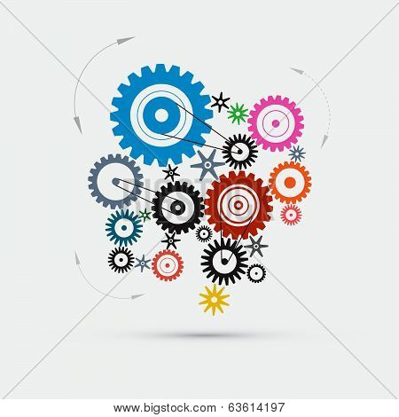 Colorful Vector Cogs - Gears Illustration
