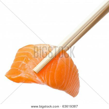Chopsticks With Sliced Raw Salmon