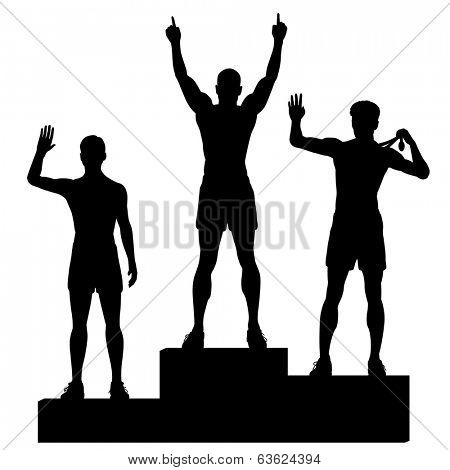 Editable vector silhouettes of three male athletes celebrating on a medal podium with each figure as a separate object