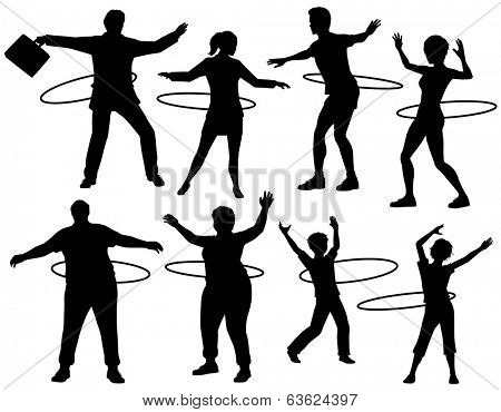 Set of editable vector silhouettes of people exercising with a hula hoop with figures and hoops as separate objects