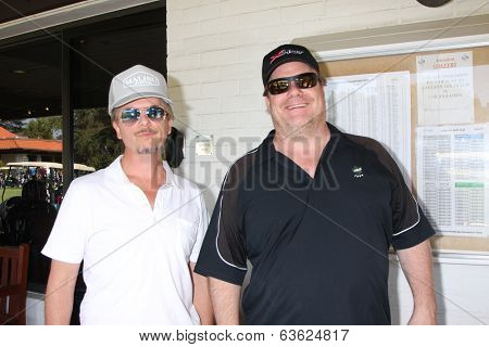 LOS ANGELES - APR 14:  David Spade, Kevin Farley at the Jack Wagner Anuual Golf Tournament benefitting LLS at Lakeside Golf Course on April 14, 2014 in Burbank, CA