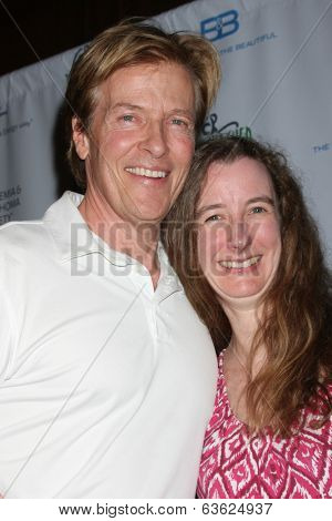 LOS ANGELES - APR 14:  Jack Wagner, Erin Geddie (Fan who traveled to attend) at the Jack Wagner Anuual Golf Tournament benefitting LLS at Lakeside Golf Course on April 14, 2014 in Burbank, CA