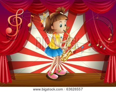 Illustration of a young musician at the stage
