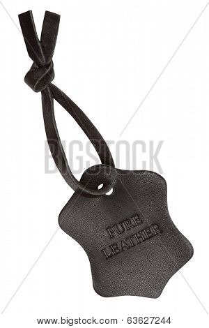Leather label, isolated on the white background, clipping path included.