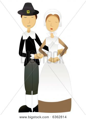 Thanksgiving Pilgrim Couple Standing together vector