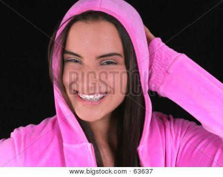 Beautiful Teen Girl In Pink Hooded Jacket