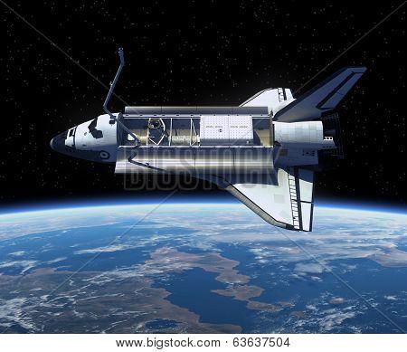 Space Shuttle Orbiting Earth.