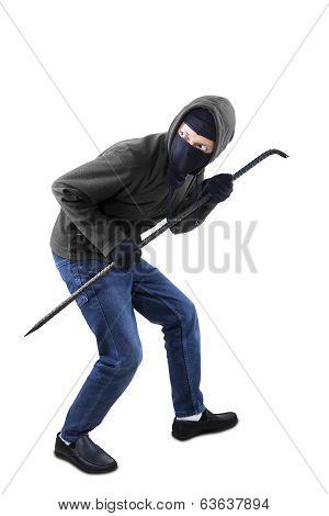 Burglar Holding A Crowbar