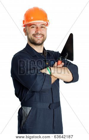 builder with trowel isolated on white background