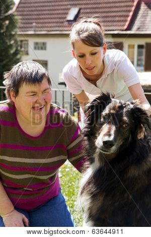 Mentally Disabled Woman With A Dog