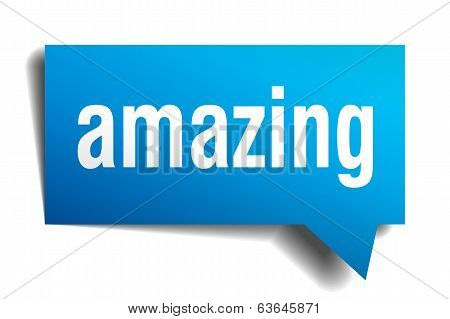 Amazing Blue 3D Realistic Paper Speech Bubble Isolated On White