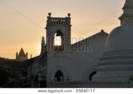 Church and Buddhist Temple, Galle, Sri Lanka