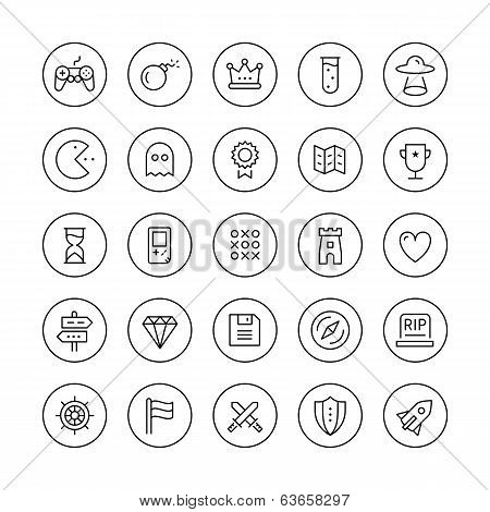 Flat thin line icons set modern design style vector collection of game playing awards retro gaming symbol collection play classic games on video console with game controller. Isolated on white background. poster