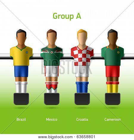Table football / foosball players. Group A - Brazil, Mexico, Croatia, Cameroon. Vector.
