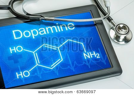 Tablet with the chemical formula of dopamine