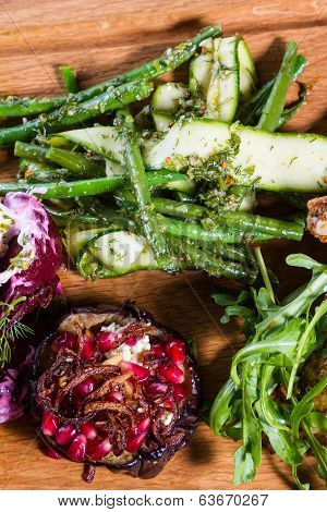 Aubergine With Pomegranate And Green Beans And Courgette Salad