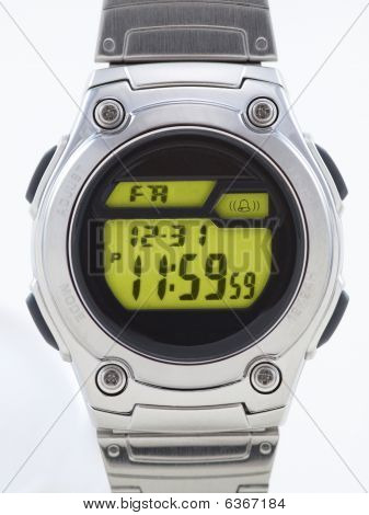 Digital Watch Close Up With Yellow Face