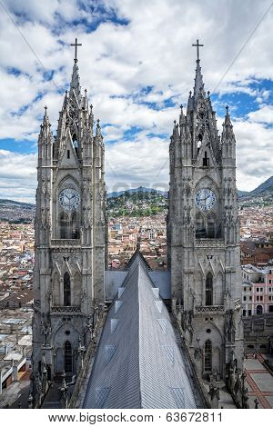 Two steeple of the Basilica of Quito