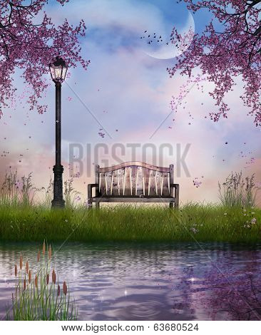 A wooden bench and street lamp in front of a river in a spring afternoon poster