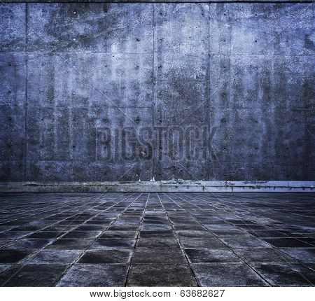 grungy stone or concrete room in blue tone.