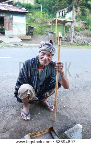 Old man in Moni Flores Indonesia