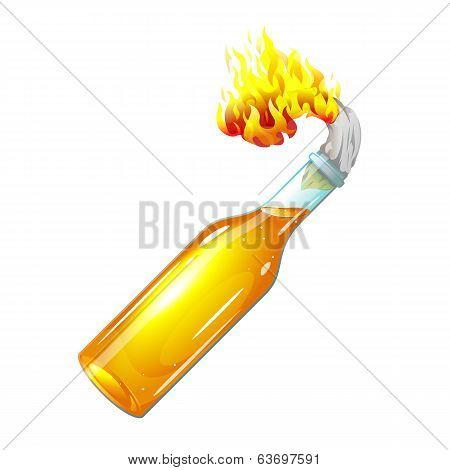 Molotov Cocktail With Burning Rag