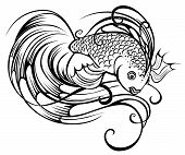 Beautiful stylized and artistically painted a fish on a white background. poster