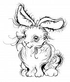 artistically painted in smooth black lines stylized fluffy bunny with big ears a white background. poster