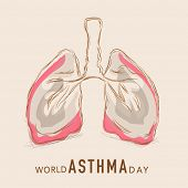 World Asthma Day concept with human lungs on abstract background. poster