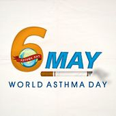 World Asthma Day concept with stylish text 6 May, globe and cigarette on grey background.  poster
