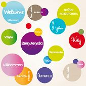 Background with color pink, blue, green and Welcome multilingual poster
