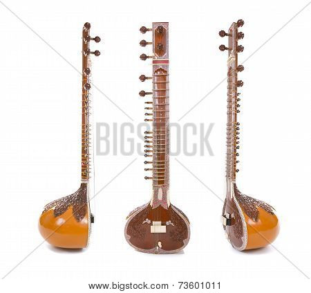 Sitar, A String Indian Traditional Instrument, Isolated On White Background