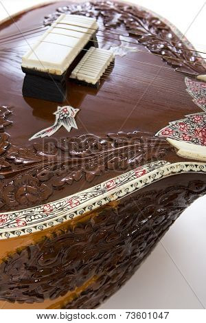 Sitar a string Traditional Indian musical instrument close-up poster