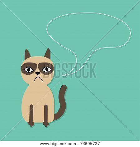 Cute Sad Grumpy Siamese Cat And Speech Bubble In Flat Design Style