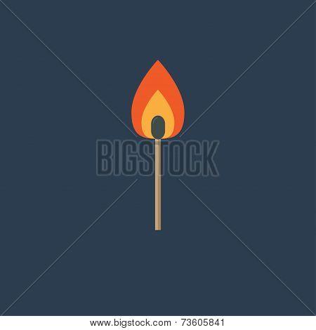Burning match with orange fire light. Flat design style. Vector illustration poster