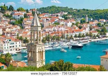 Amazing town of Hvar harbor aerial view Dalmatia croatia poster