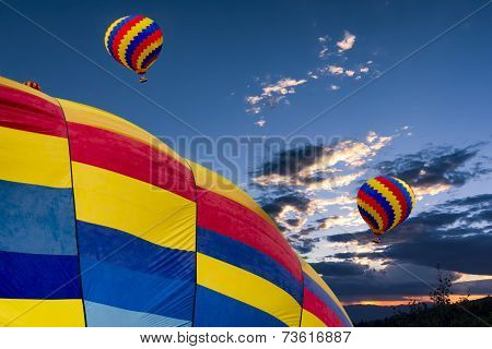 Hot Air Balloons At Dusk