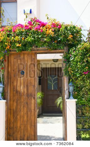 Vintage entrace door with tropical flowers, vertical picture. poster