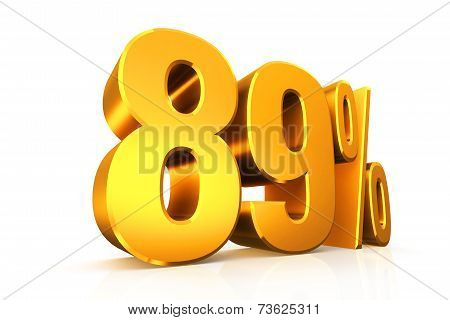 3D render text in 89 percent in gold on white background with reflection poster