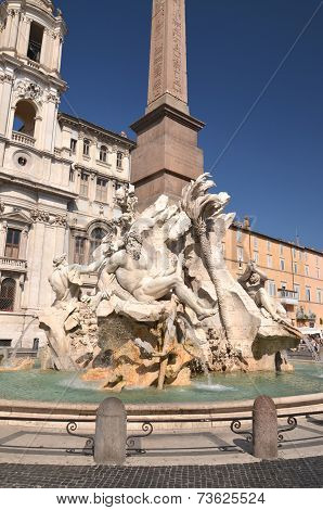 Beautiful Fountain of the Four Rivers on Piazza Navona in Rome, Italy
