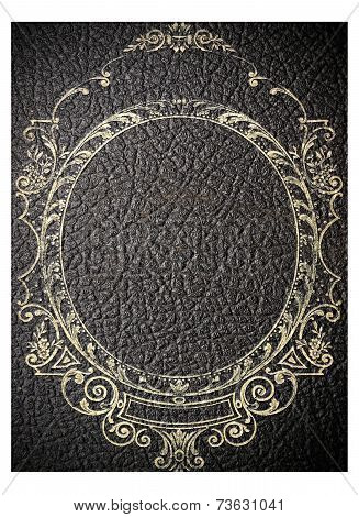 Isolated Old Black Leather Book Cover