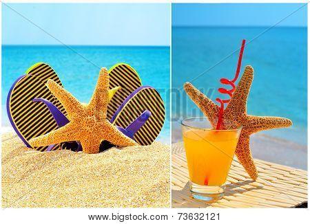 Fishstar, Glass Of Orange Cocktail Against The Blue Sea