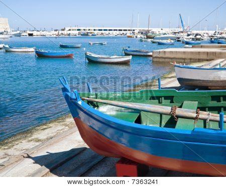 Boats at the old port of Bari. Apulia.