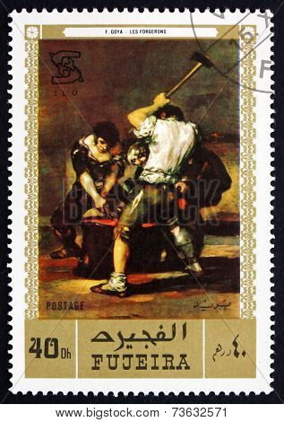 Postage Stamp Fujeira 1971 The Forge, By Francisco De Goya