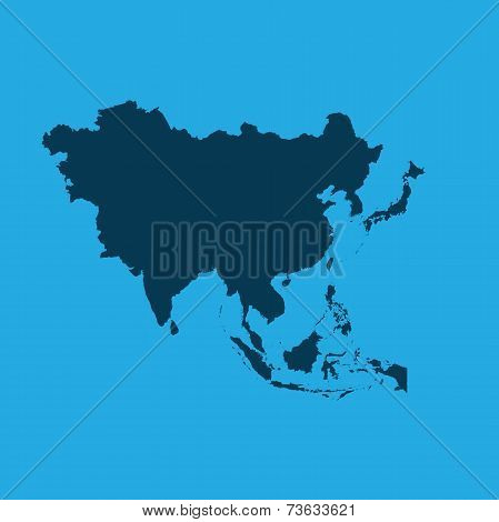 Illustration Of The Continents Of The World On White Background - Asia