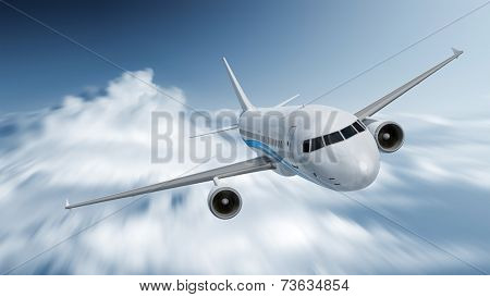 An image of an airplane with motion blur in the clouds