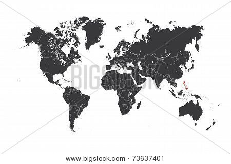 Map Of The World With A Selected Country Of Philippines