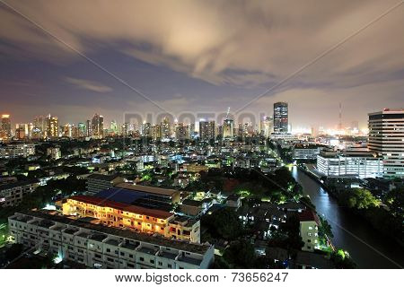 Aerial view of Bangkok cityscape at twilight sky poster