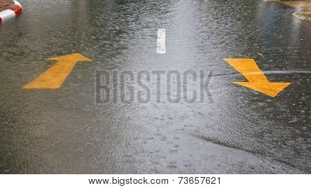 Flooded Residential Street Caused By Storm
